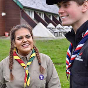 Tom Hamer with Explorer Scouts